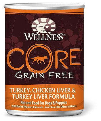 Wellness CORE Grain-Free Turkey Chicken Liver & Turkey Liver Wet Dog Food 12.5oz