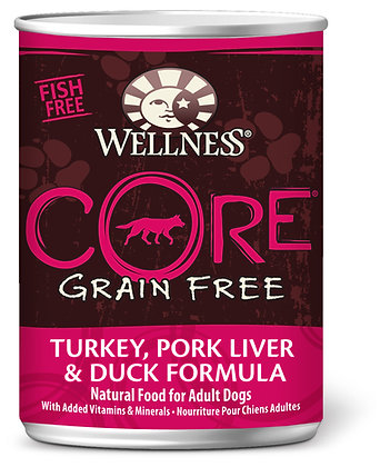 Wellness CORE Grain-Free Turkey, Pork Liver & Duck Wet Dog Food 12.5oz