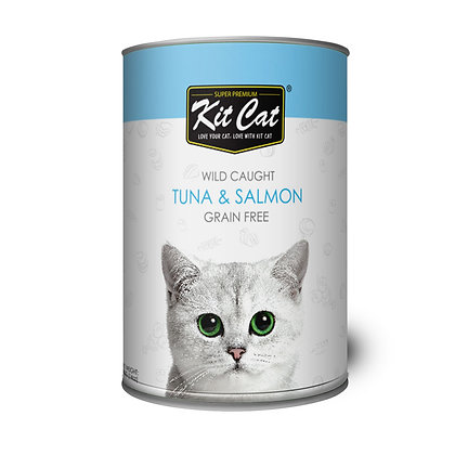 Kit Cat Wet Food Wild Caught, Grain Free Tuna & Salmon 400g (24 cans)