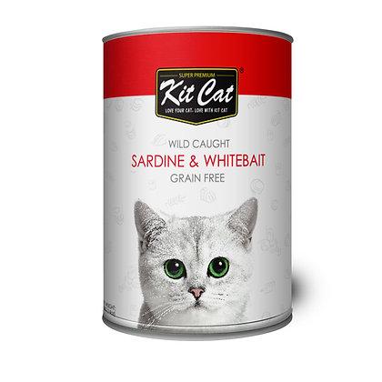 Kit Cat Wet Food Wild Caught, Grain Free Sardine & Whitebait 400g (24 cans)