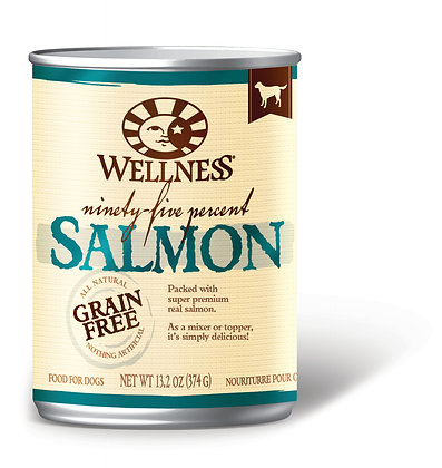 Wellness 95% Grain-Free Salmon Wet Dog Food 13.2oz