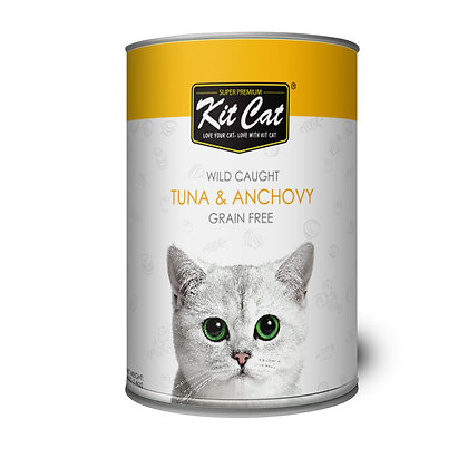 Kit Cat Wet Food Wild Caught, Grain Free Tuna & Anchovy 400g (24 cans)