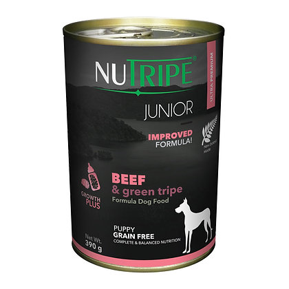 Nutripe Junior Beef & Green Tripe Dog 390g (12 cans)