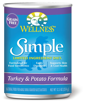Wellness Simple Solutions Turkey & Potato Grain-Free Wet Dog Food 12.5oz