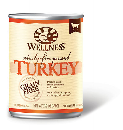 Wellness 95% Grain-Free Turkey Wet Dog Food 13.2oz