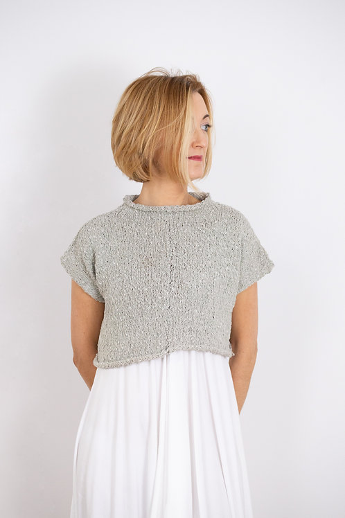 Cotton Cropped Handknitted Top