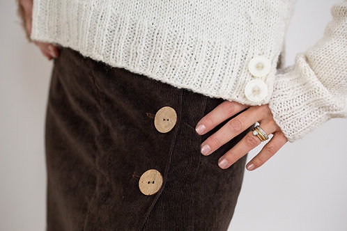Handknitted Sweater and Milou Corduroy Skirt