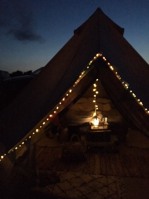 decorating bell tent campaing glamping festival tent interior solar lights