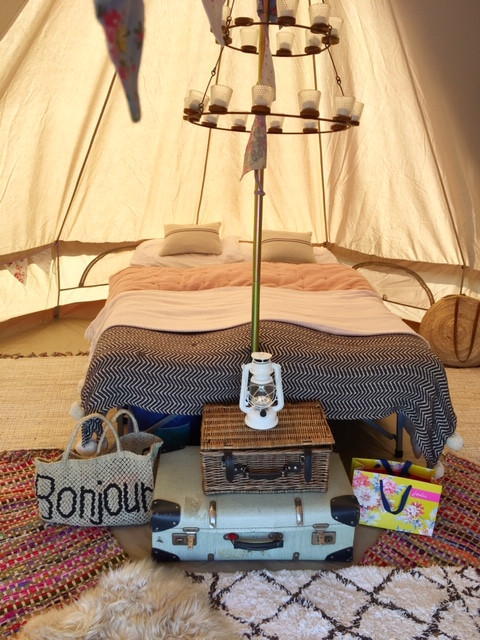 Bell tent interior design rugs and boho camping festival