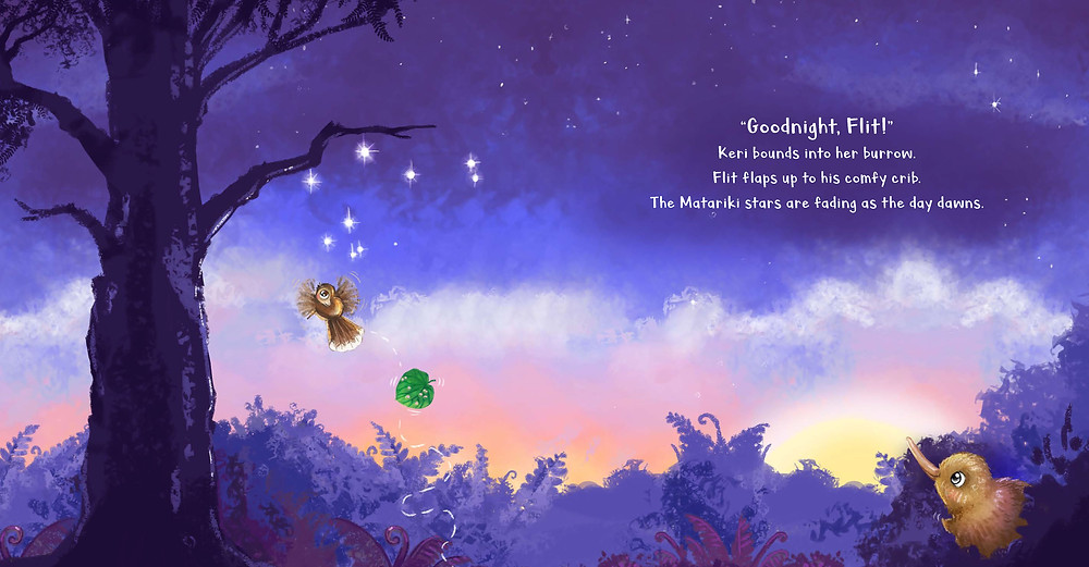 Spread from Flit the Fantail and the Matariki Map by Kat Quin