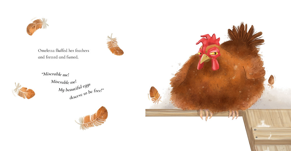 Omeletta's murderous expression steals the show in a spread from Omeletta Hen, by Janelle Wilkey, illustrated by Deborah Hinde, Scholastic.