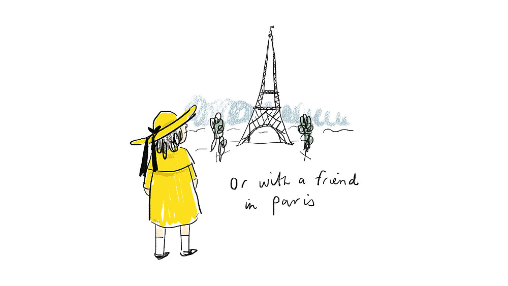 or with a friend in Paris