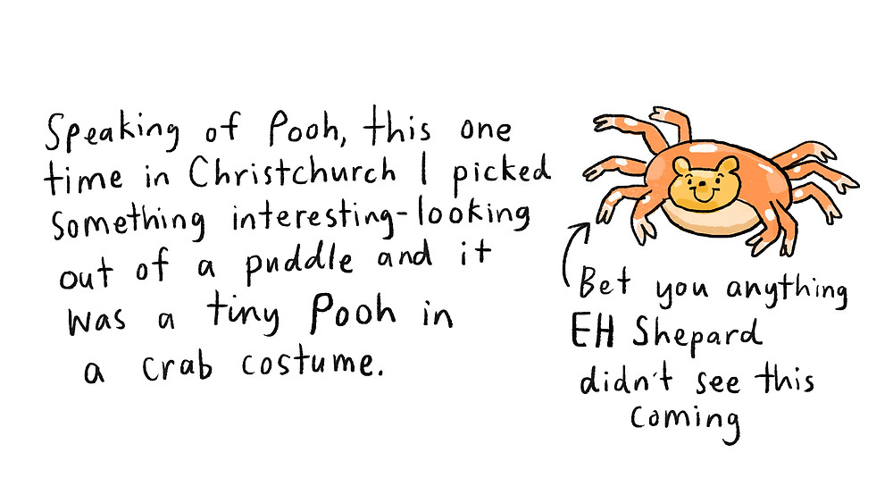 Speaking of Pooh, this one time in Christchurch I picked something interesting-looking out of a puddle and it was a tiny Pooh in a crab costume. Bet you anything EH Shepard didn't see this coming (image of crab pooh)