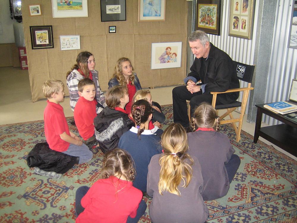 rural class visiting Paul's studio