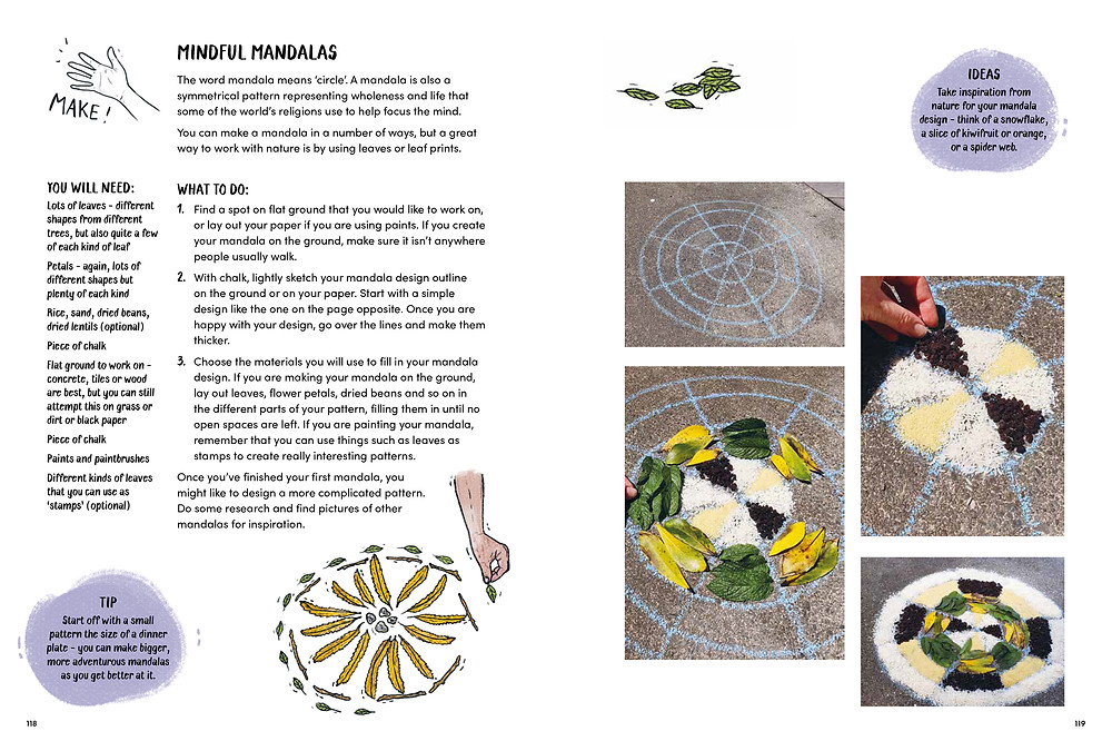 instructions for mindful mandalas with images showing how to do it.