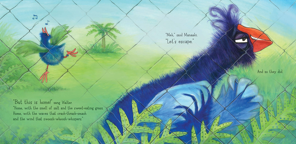 Spread from Takahē Trouble by Sally Sutton and Jenny Cooper