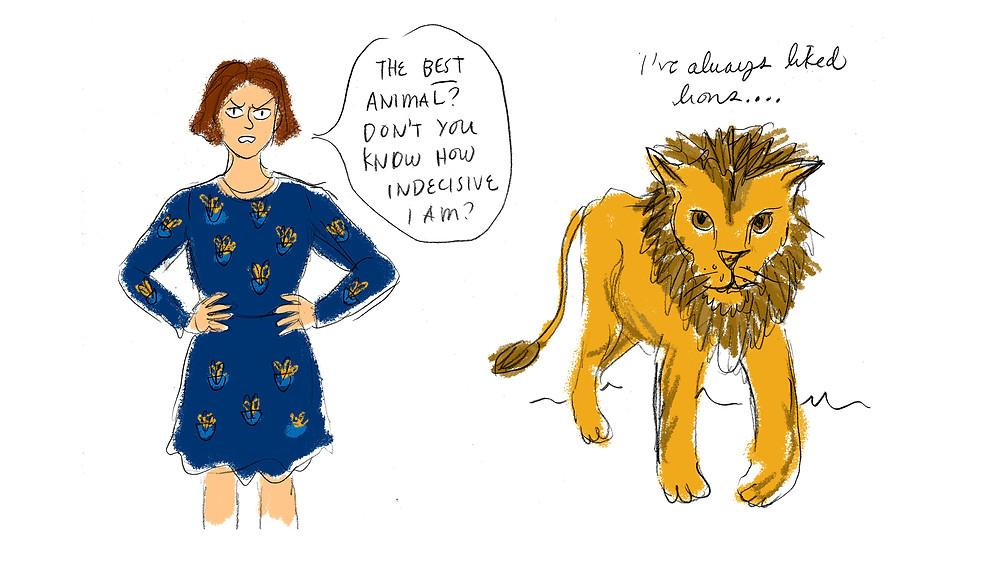 sarah with lion