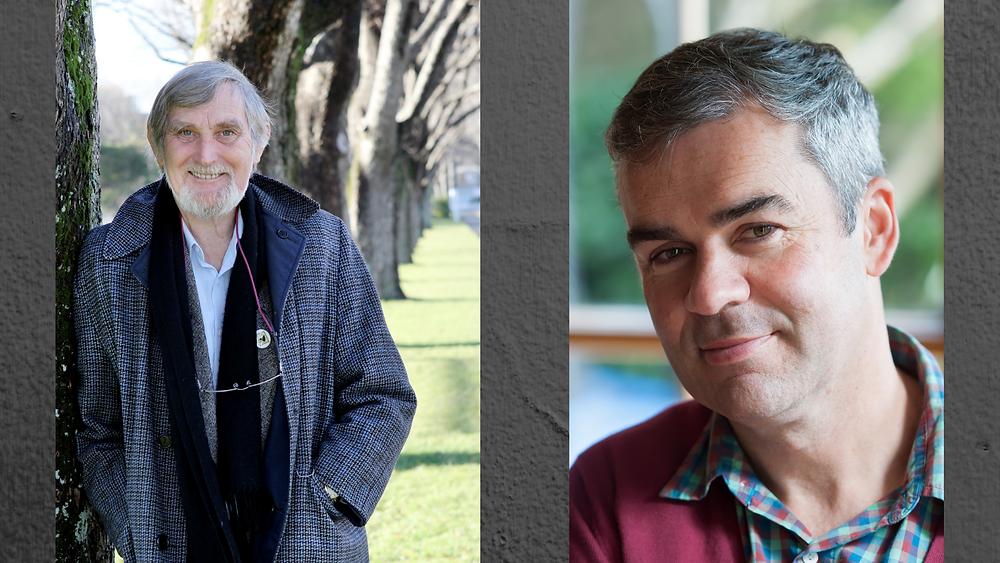 James Norcliffe (portrait © Random House NZ) and Bernard Beckett (portrait © Robert Cross)
