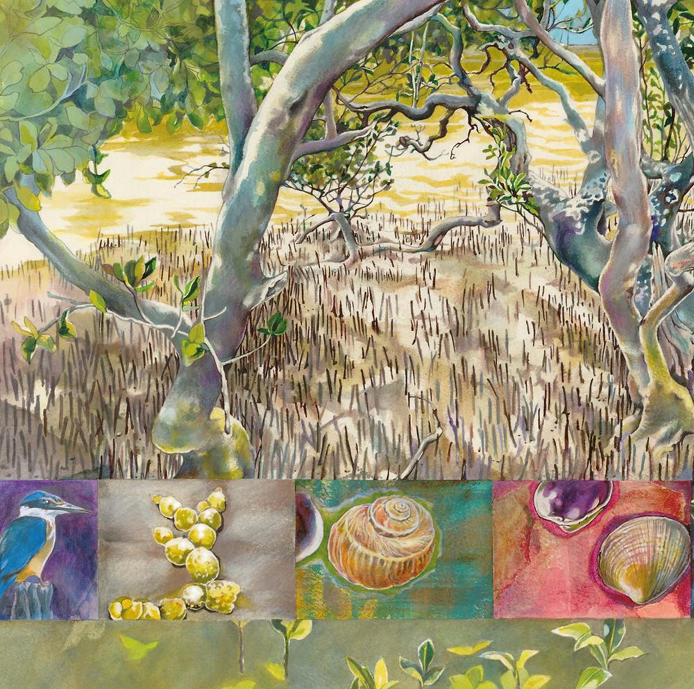 Illustration detail from Mangrove, text by Glenda Kane, illustration by Lisa Allen