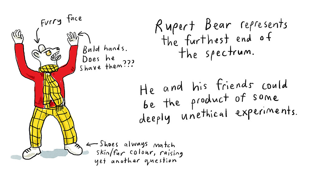 Rupert Bear represents the furthest end of the spectrum. He and his friends could be the product of some deeply unethical experiments.