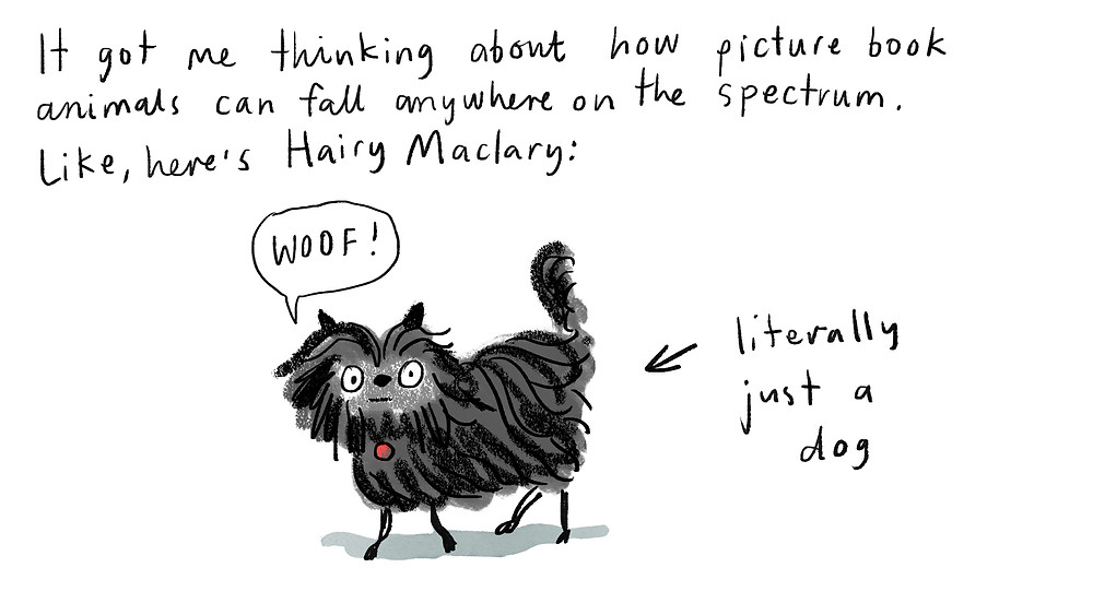 It got me thinking about how picture book animals can fall anywhere on the spectrum. Like, here's Hairy Maclary. Literally just a dog.