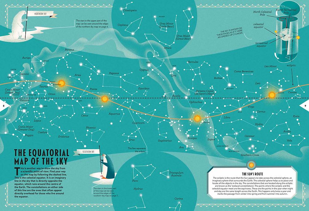 A spread from Space Maps, by Lara Albanese and Tommaso Vidus Rosin (Oratia Books)