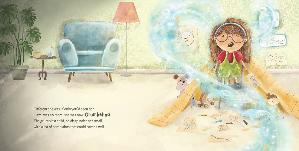 Grumbelina's complaints could cover a wall in a spread from Grumbelina, by Esther Krogdahl and Aleksandra Szmidt, Moa