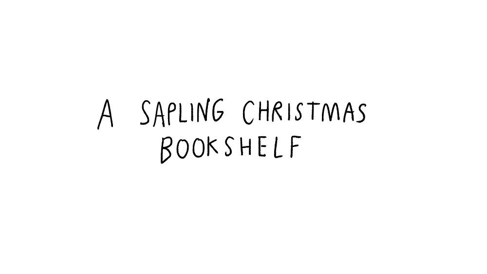 a sapling christmas bookshelf