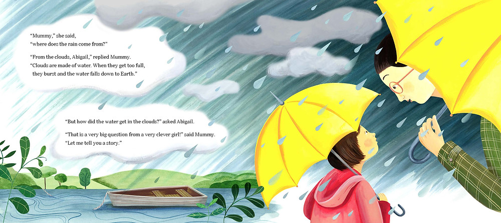 illustrated spread with grey clouds and raindrops, with a mother and daughter holding yellow umbrellas, and words in the clouds
