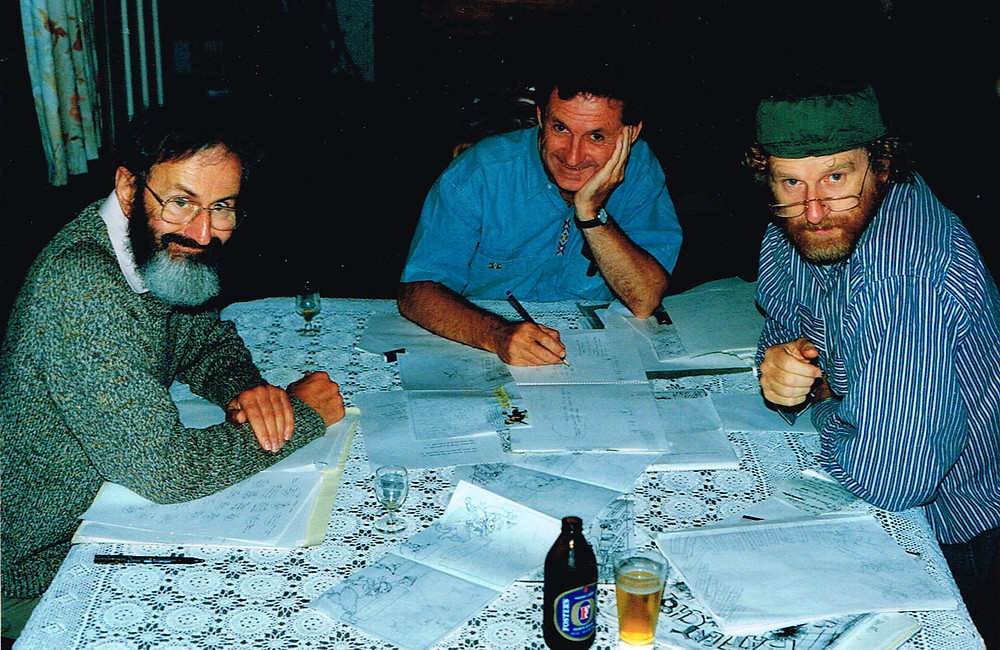 Paul with Ted Greenwood and Terry Denton writing Spooner or Later