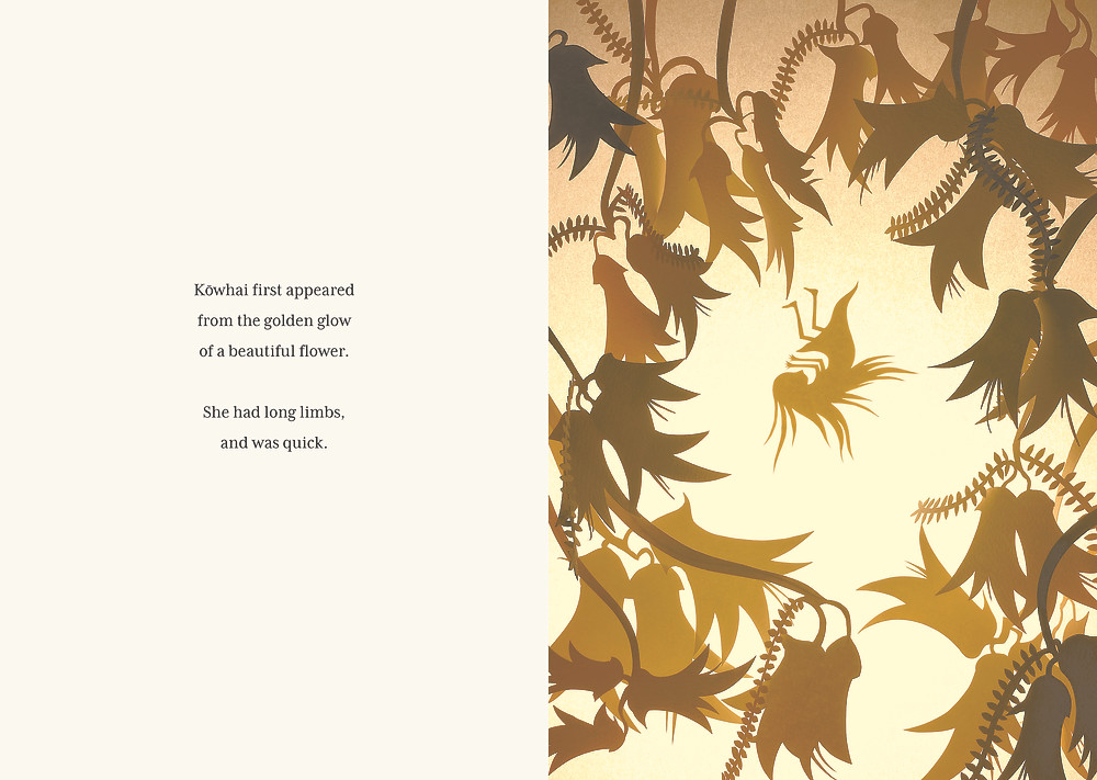 Spread from Kōwhai and the Giants by Kate Parker