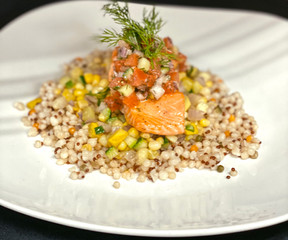 Salmon Over Indiana Succotash and Wild G