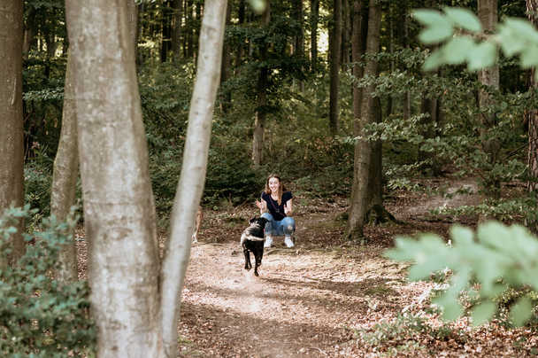 Wald-Frau-Hund-Fotografie