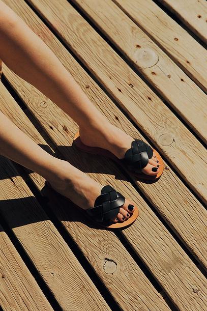 Kallo grid leather slides handmade in greece