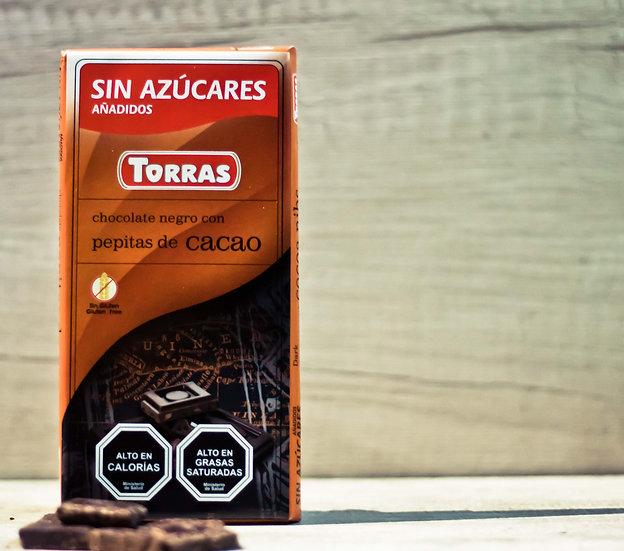 Chocolate negro con Pepitas de Cacao 75 gr.