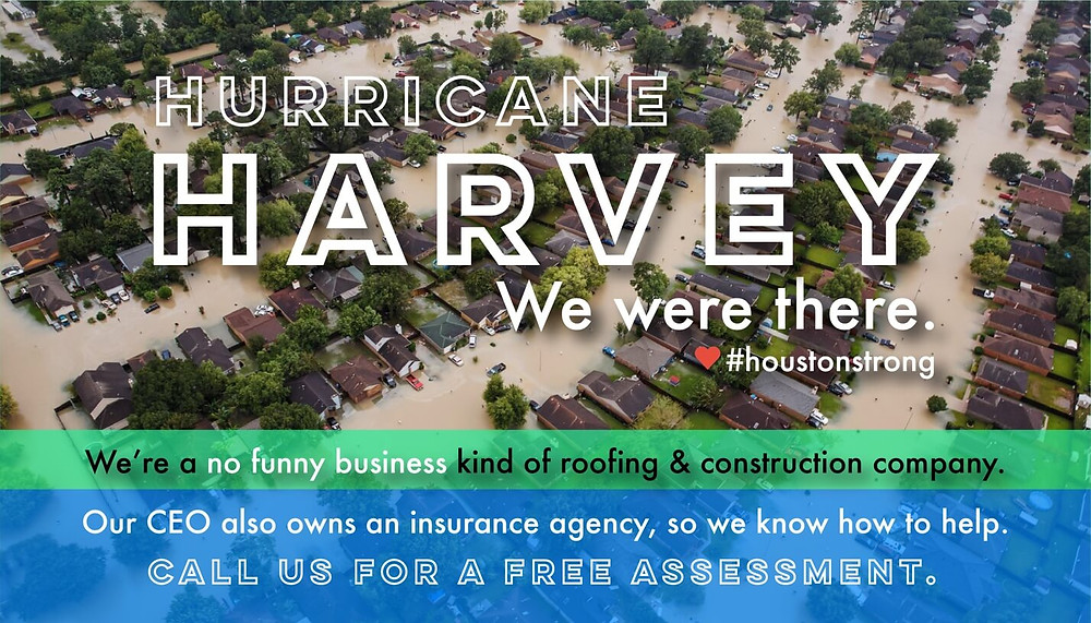 Hurricane Harvey - Free roof insurance claim damage assessments - Level Up Roofing