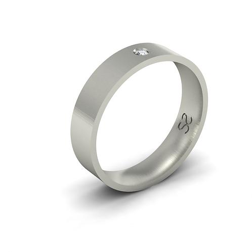 Aliança Júlia G em Prata 950 Com 01 Diamante