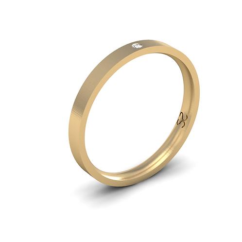 Aliança Júlia P em Ouro 18K Com 01 Diamante