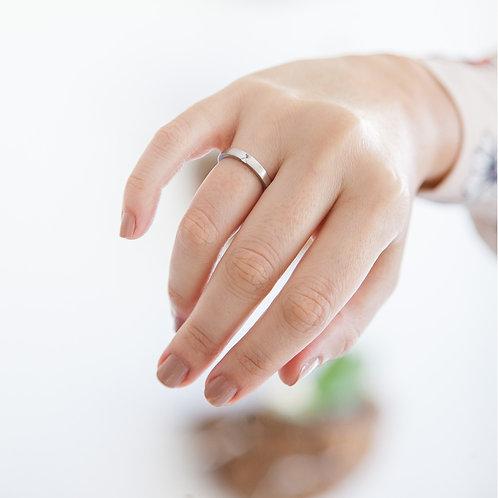 Aliança Bárbara em Prata 950 com Diamante