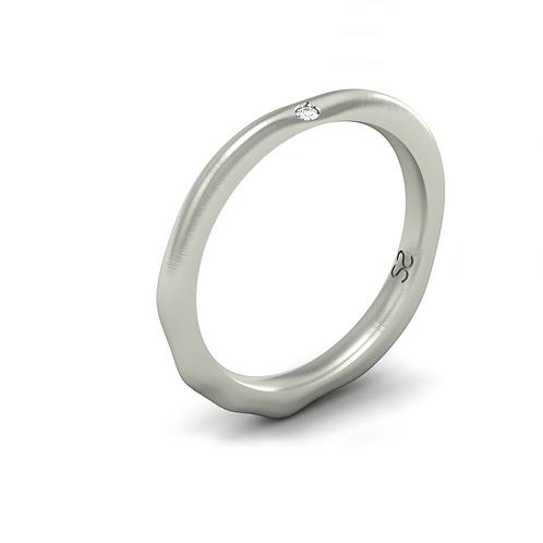 Aliança Luíza em Prata 950 com 01 Diamante