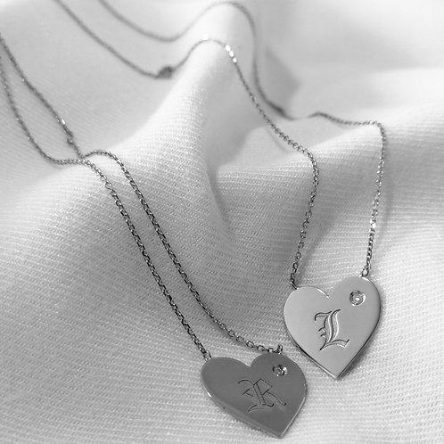 Escapulário Coração em Prata