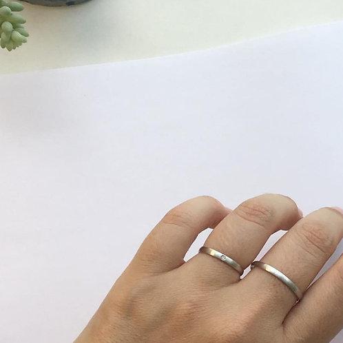 Aliança Laís P em Prata 950 Com 01 Diamante
