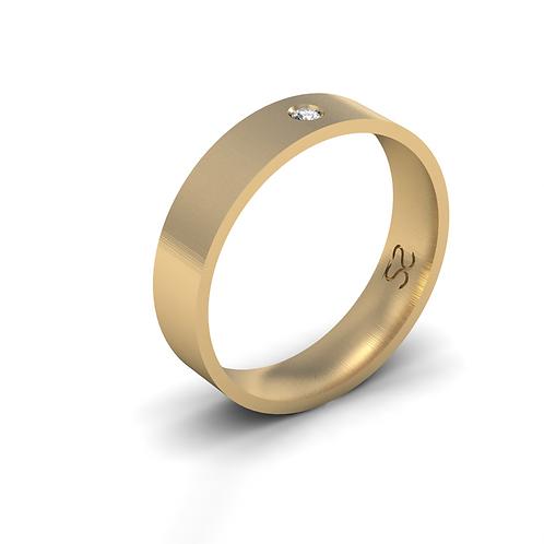 Aliança Júlia G em Ouro 18K Com 01 Diamante