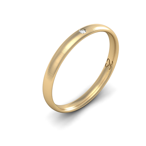 Aliança Laís P em Ouro 18k Com 01 Diamante