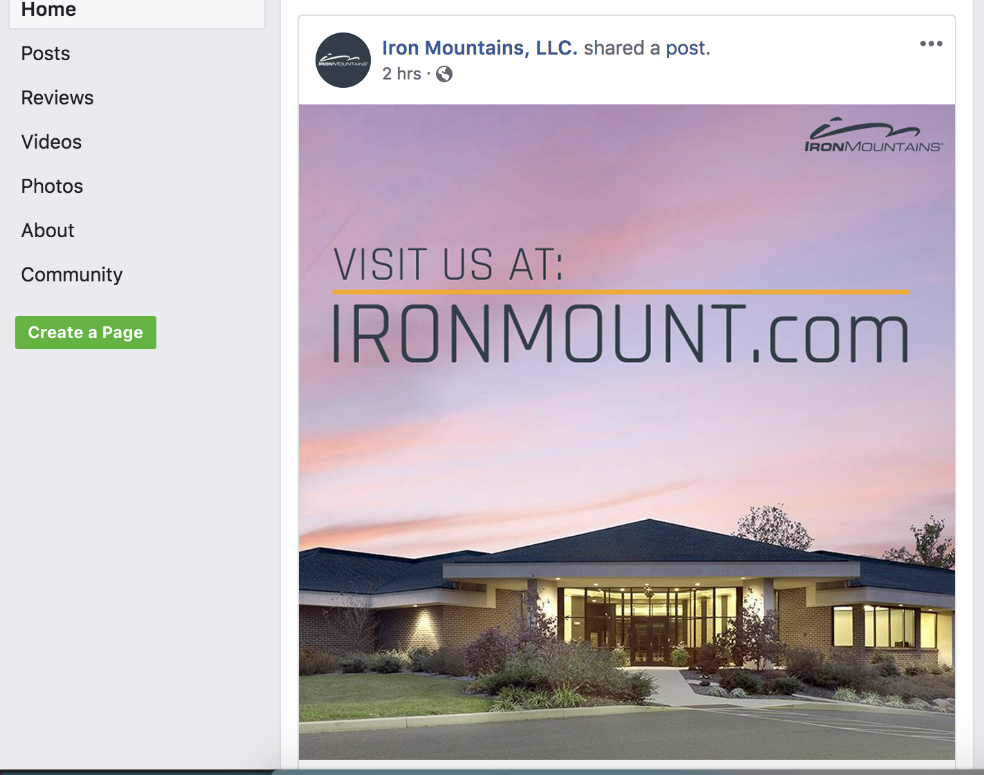 Iron Mountains Social Post