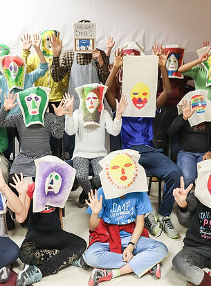 "Atelier ""masques africaines"", ""African masks"" workshop"