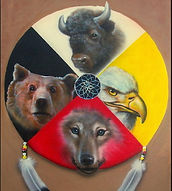 Les cycles de la vie, The circle of life - Une cercle separer en quatre section qui sont occupé par un ours, un loup, un aigle, et un bison; A circlesplit into four sections contining a bear, a wolf, an eagle, and a bison.
