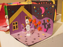 Dia de muertes, Jour des morts, Day of the Dead - Une autel et une squelette, An altar and a skeleton