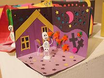 Dia de muertes, Jour des morts, Day of the Dead - Une autel et une squelette, An altar and a skeleton