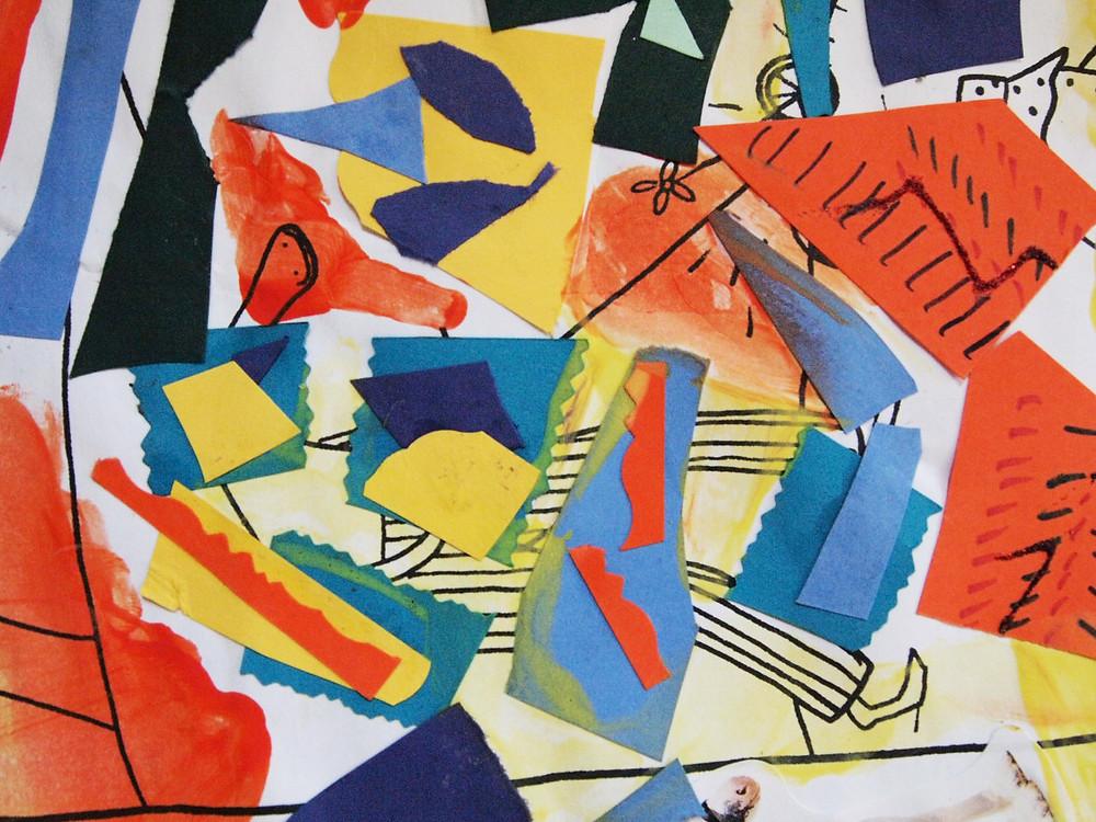 Collage de recortes de papel y pintura